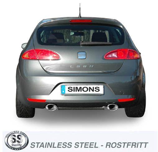 Simons Duplex Edelstahlanlage 90/140 mm oval für Seat Leon 2.0TFSI/TFSi-FR Baujahr 06-