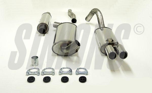 Simons Edelstahl Auspuffanlage 2x70mm Audi 80/90/Coupe Typ 89 1.6/1.8/1.9/2.0/2.2/2.3