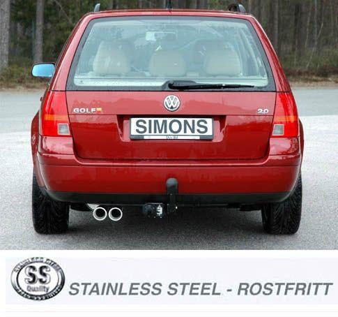 Simons Edelstahl Auspuffanlage 2x80 mm rund für VW Golf IV Variant 1.4/1.6/1.8/1.8T/1.9TDI/1.9SDI/2.